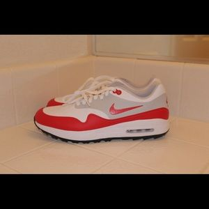 New Nike Air Max 1 Golf Shoes university red 12